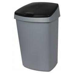 Curver afvalbak plat 25ltr zilver/antr.